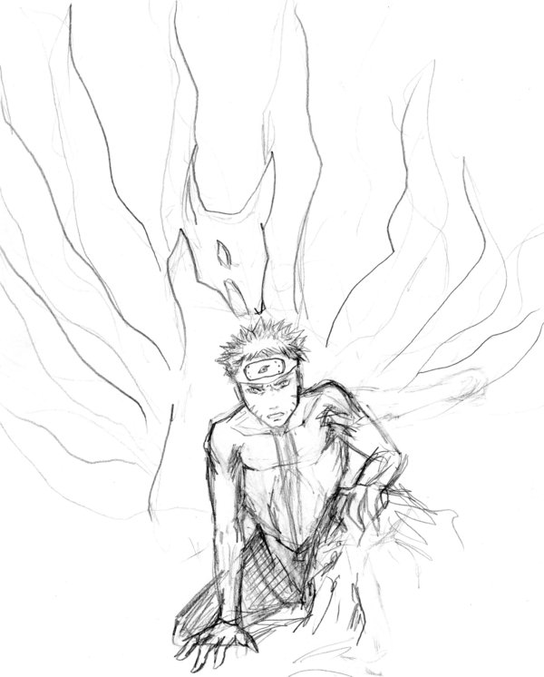 600x746 Kyuubi Naruto First Sketch By Engill16