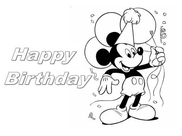 600x450 Happy Birthday Mickey Mouse Coloring Pages