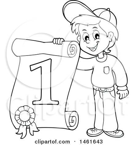 450x470 Clipart Of A Black And White Boy Holding A First Place Certificate