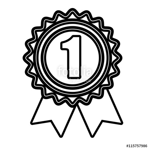 500x500 First Place Medal In Black And White Colors, Vector Illustration
