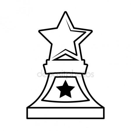 450x450 Winner Award Banner Vector Illustration, Flat Cartoon Trophy