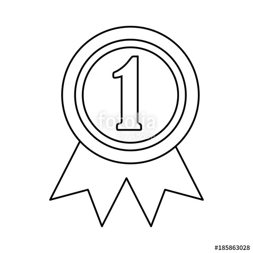 500x500 Ribbon Award First Place Icon Image Vector Illustration Design