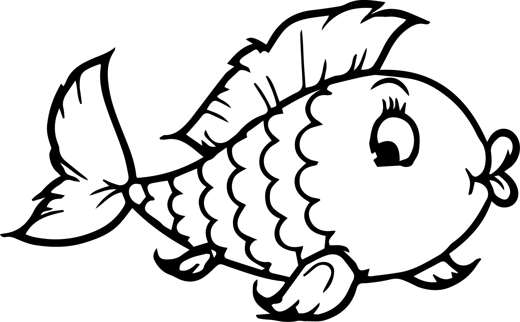 freshwater fish coloring pages - fish drawing images at free for personal