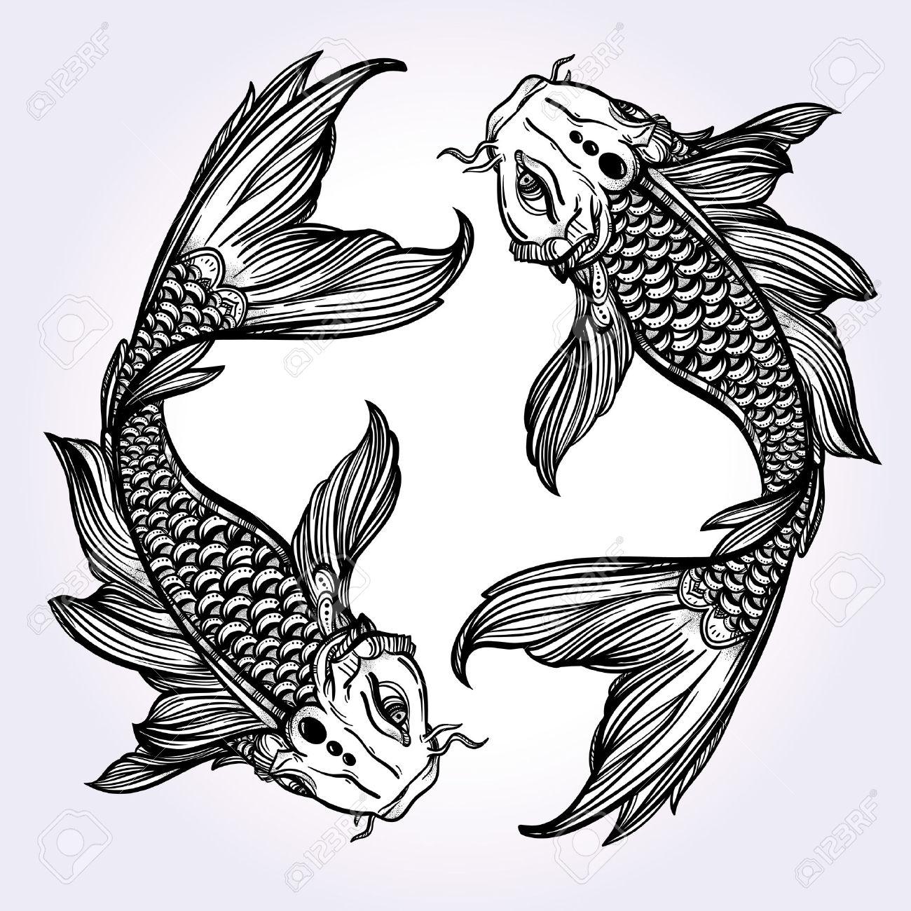 1300x1300 Black And White Koi Fish Drawings