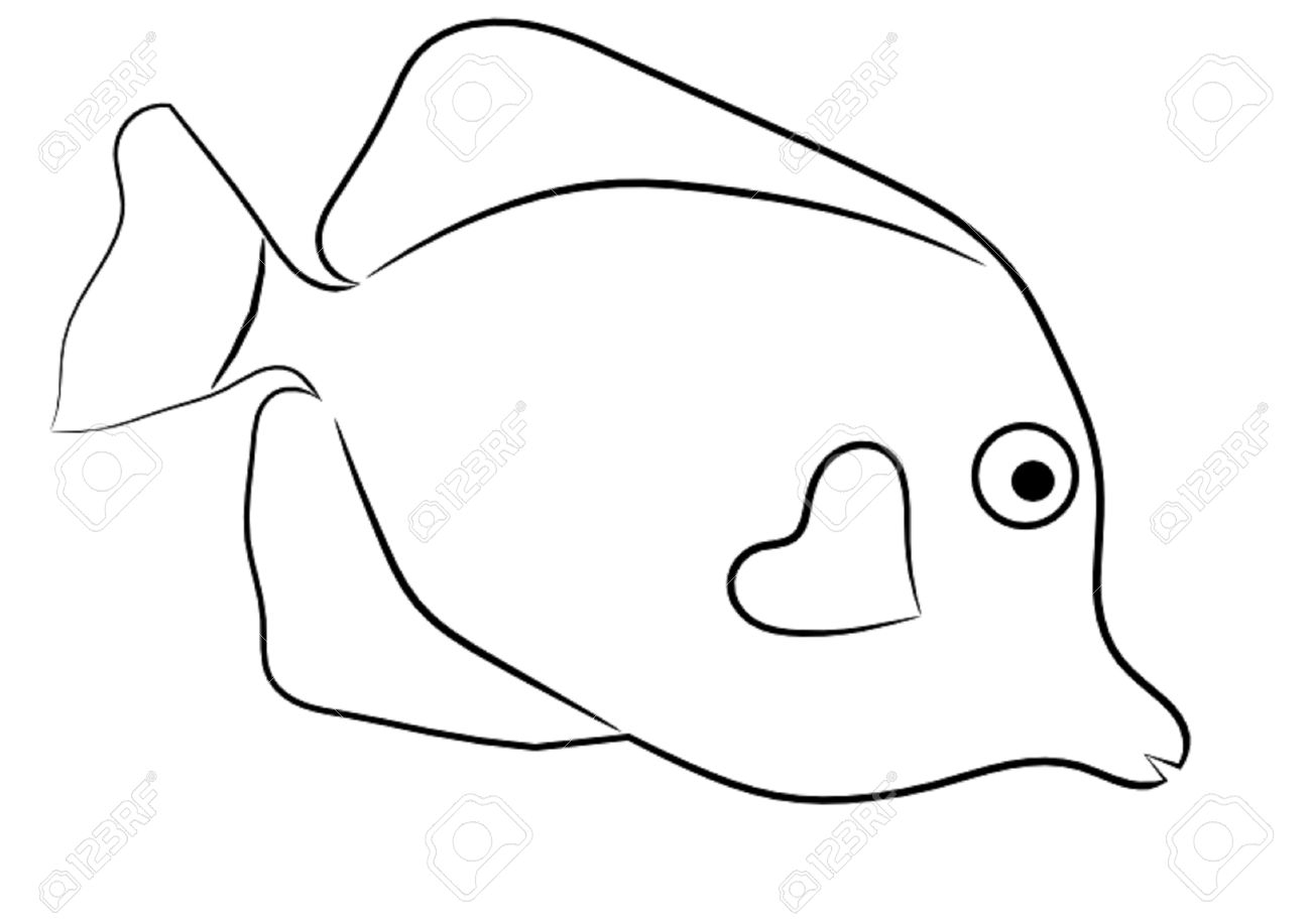 1300x917 Outline Drawing Of Fish Fish Outline Clipart Fish Outline Clip Art