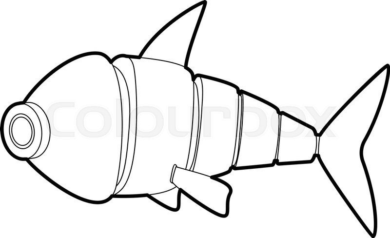 800x488 Robot Fish Icon In Outline Style Isolated On White Vector