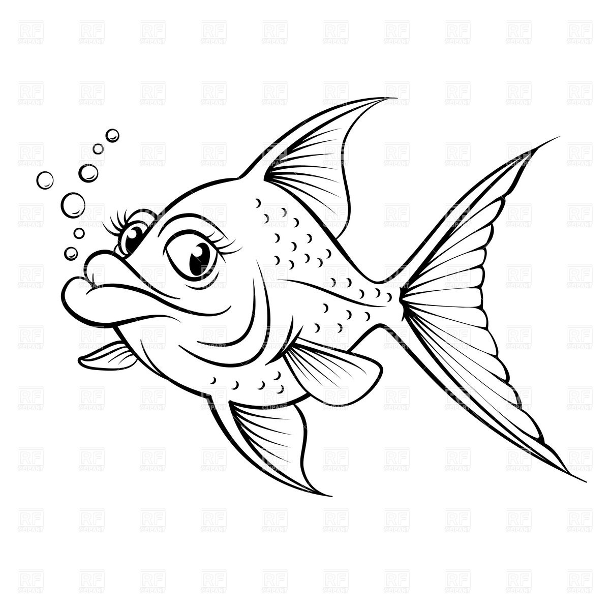 1200x1200 Sketch Of Cartoon Fish Outline Royalty Free Vector Clip Art Image