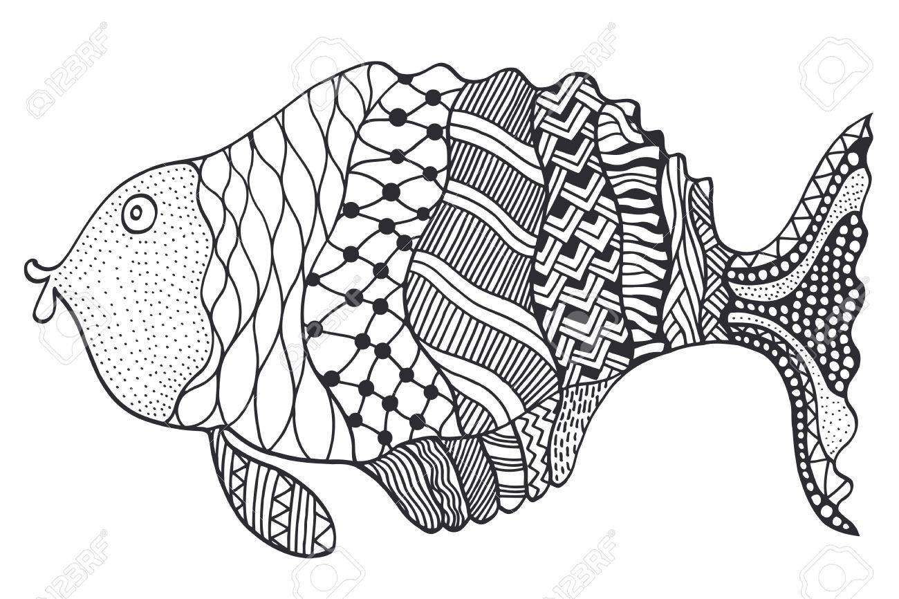 1300x866 Vector Hand Drawn Doodle Outline Fish Illustration. Decorative