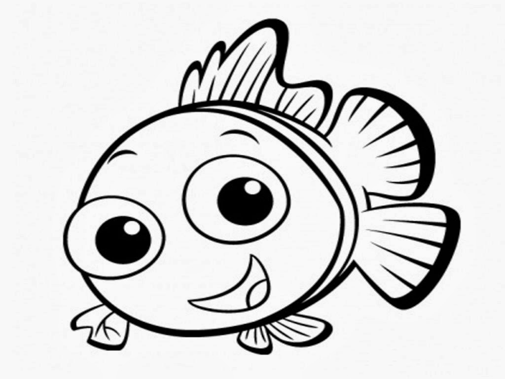 1024x768 Fish Drawing For Colouring Simple Fish Drawing Clipartsco