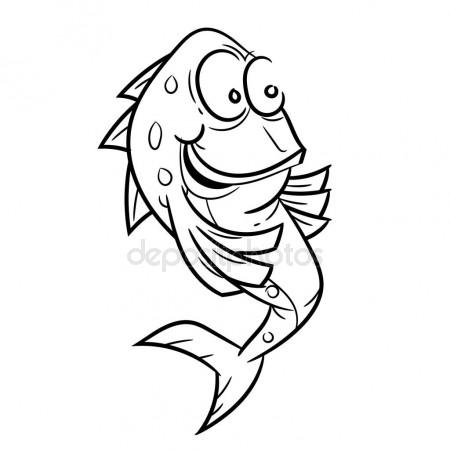 450x450 Line Drawing Of Smile Fish Cartoon Simple Line Vector Stock