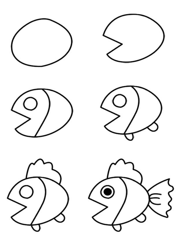 630x836 Simple Fish Drawing For Kids