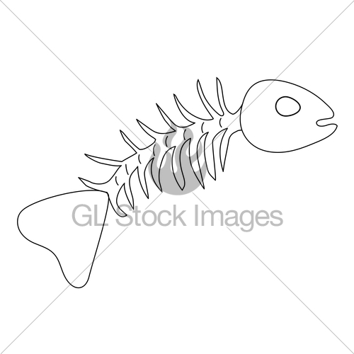 500x500 Simple Skeleton Fish Drawing Gl Stock Images