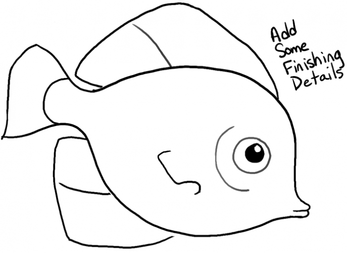 687x502 Coloring Pages Cute Fish Drawings For Kids Drawing Bw How