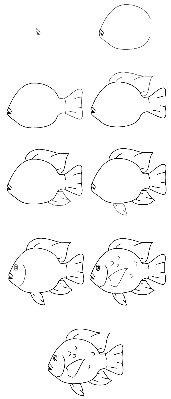 600x1396 How To Draw A Fish Step By Step 10 Best Ways, Part 1