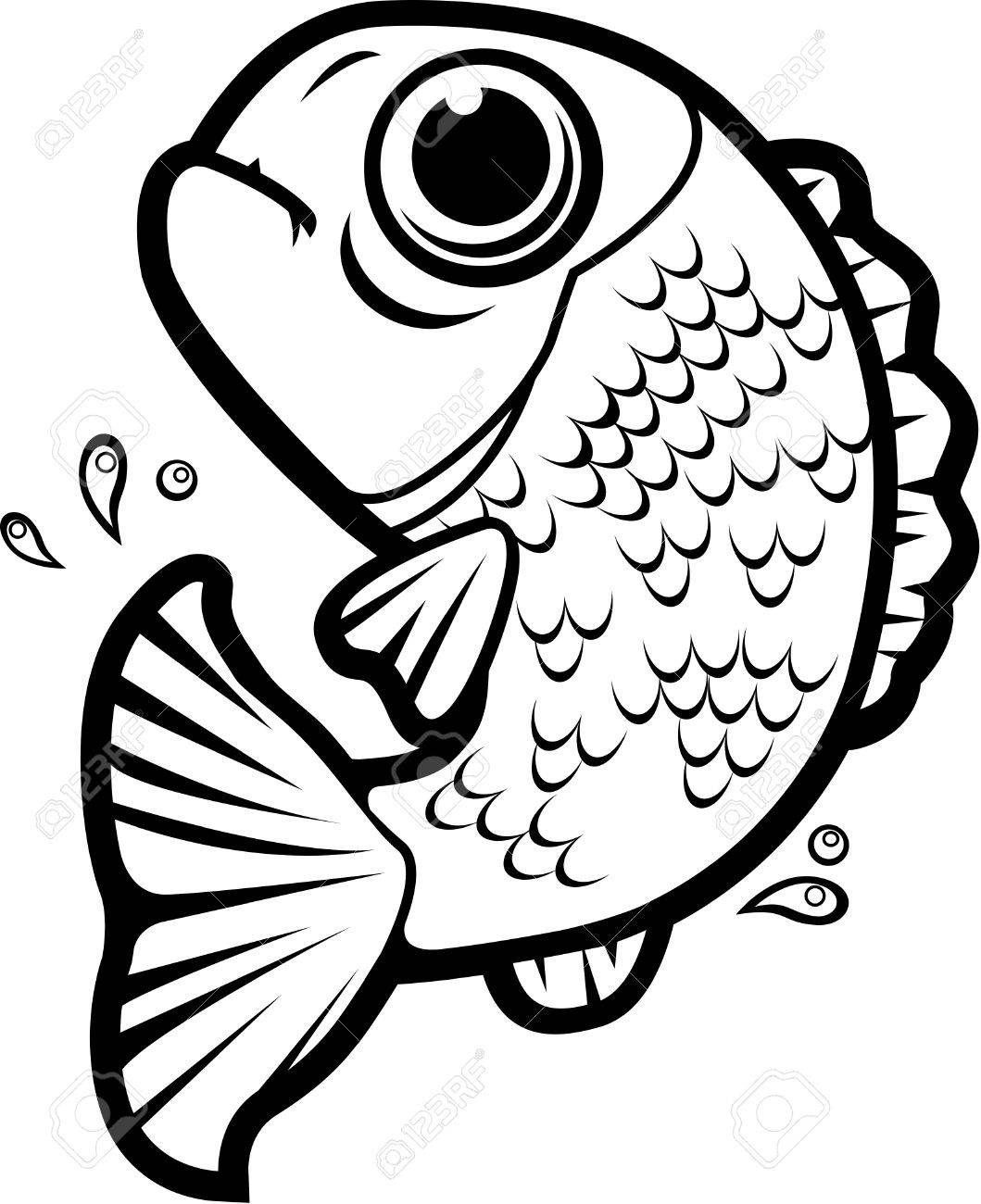 1059x1300 A Cartoon Fish Jumping Out Of The Water. Royalty Free Cliparts