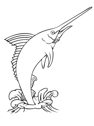 360x480 Blue Marlin Jumping Out Water Coloring Page Free Printable
