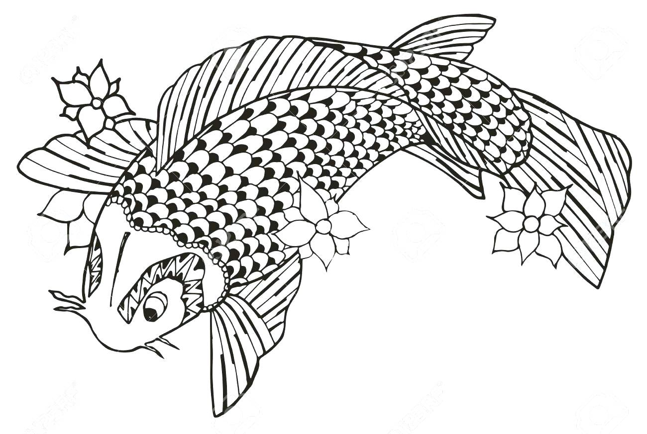 1300x873 Koi Fish Tattoo Coloring Pages Thanksgiving Design For Adults