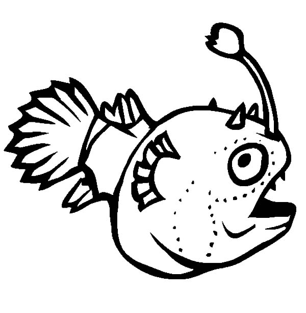 600x612 Funny Monster Fish Coloring Pages Color Luna