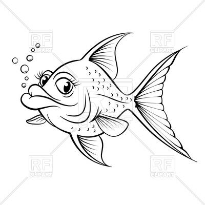 400x400 Sketch Of Cartoon Fish Outline Royalty Free Vector Clip Art Image