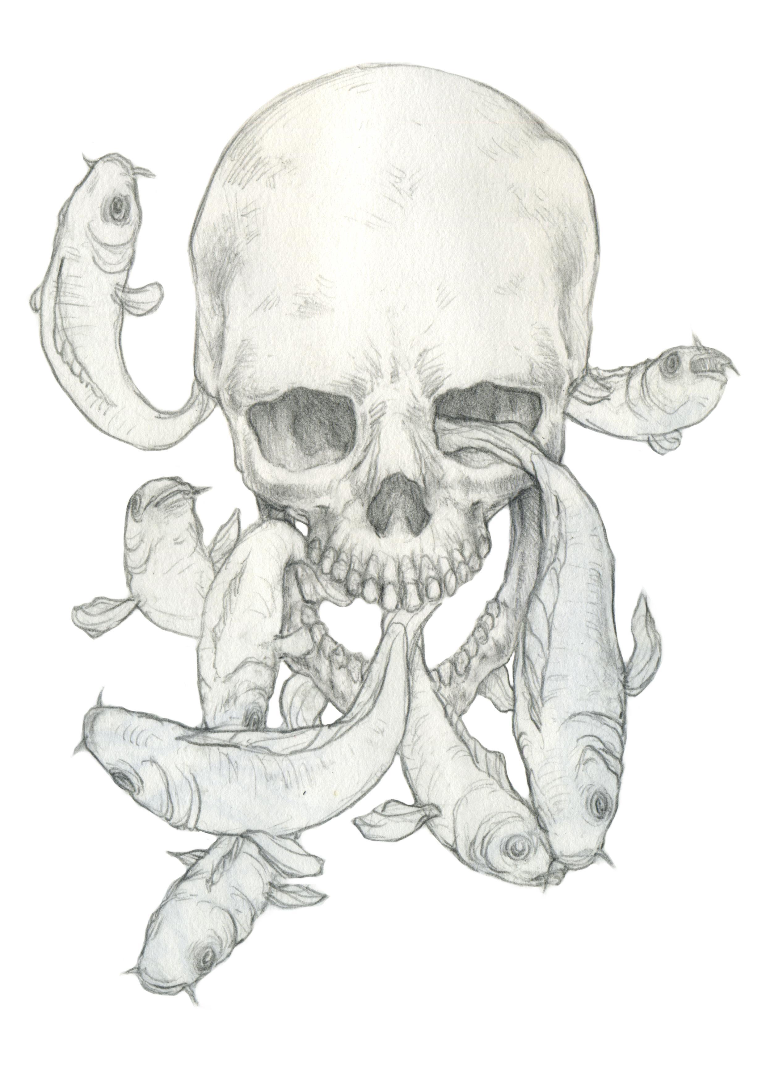 2480x3508 Skull Amp Fish Sketch Drawings Fish Sketch, Sketches