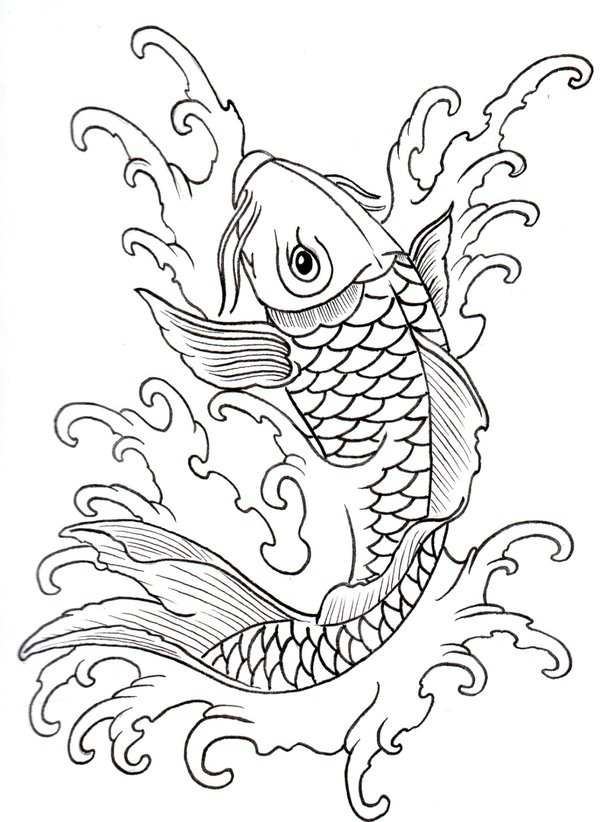 600x822 Collection Of Roses N Koi Fish Tattoo Sketch