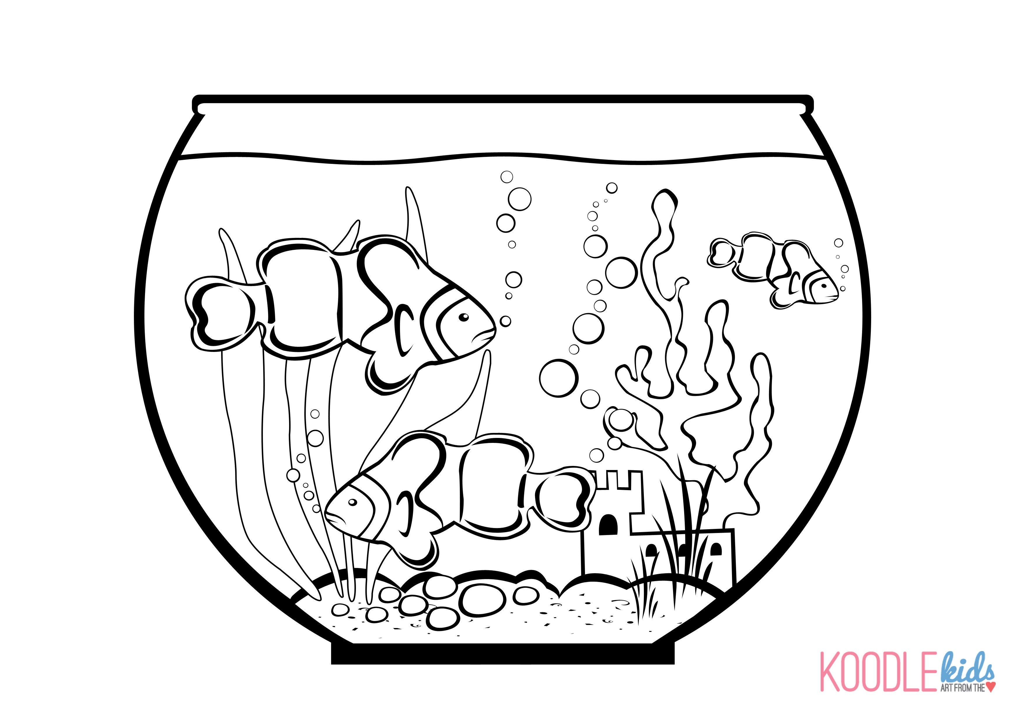 Fishbowl drawing at free for personal for Fish bowl coloring pages