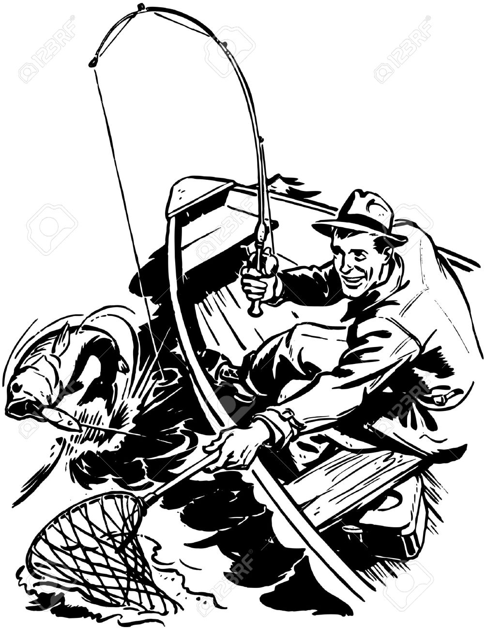 1004x1300 Fisherman Catching Fish Royalty Free Cliparts, Vectors, And Stock