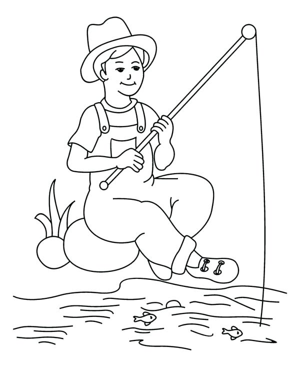 600x733 Fisherman Coloring Pages Fish Coloring Pages For Adults Plus Fish