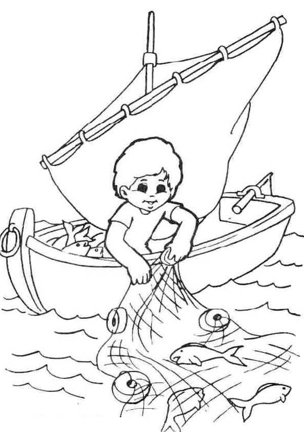 600x852 Fisherman Coloring Pages For Your Kids Fish Nets