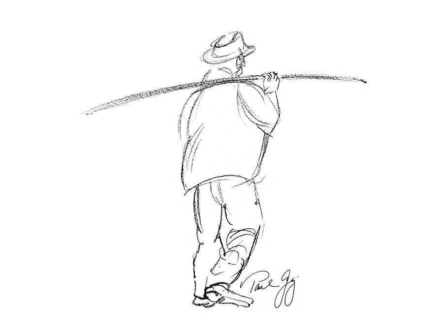 900x675 Fisherman On Pass Christian Louisiana Dock Digital Art By Paul Gaj