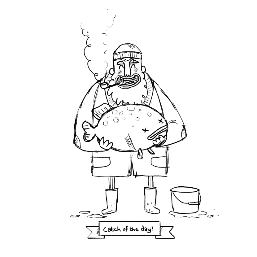 830x830 Fisherman Sketch Sketches, People