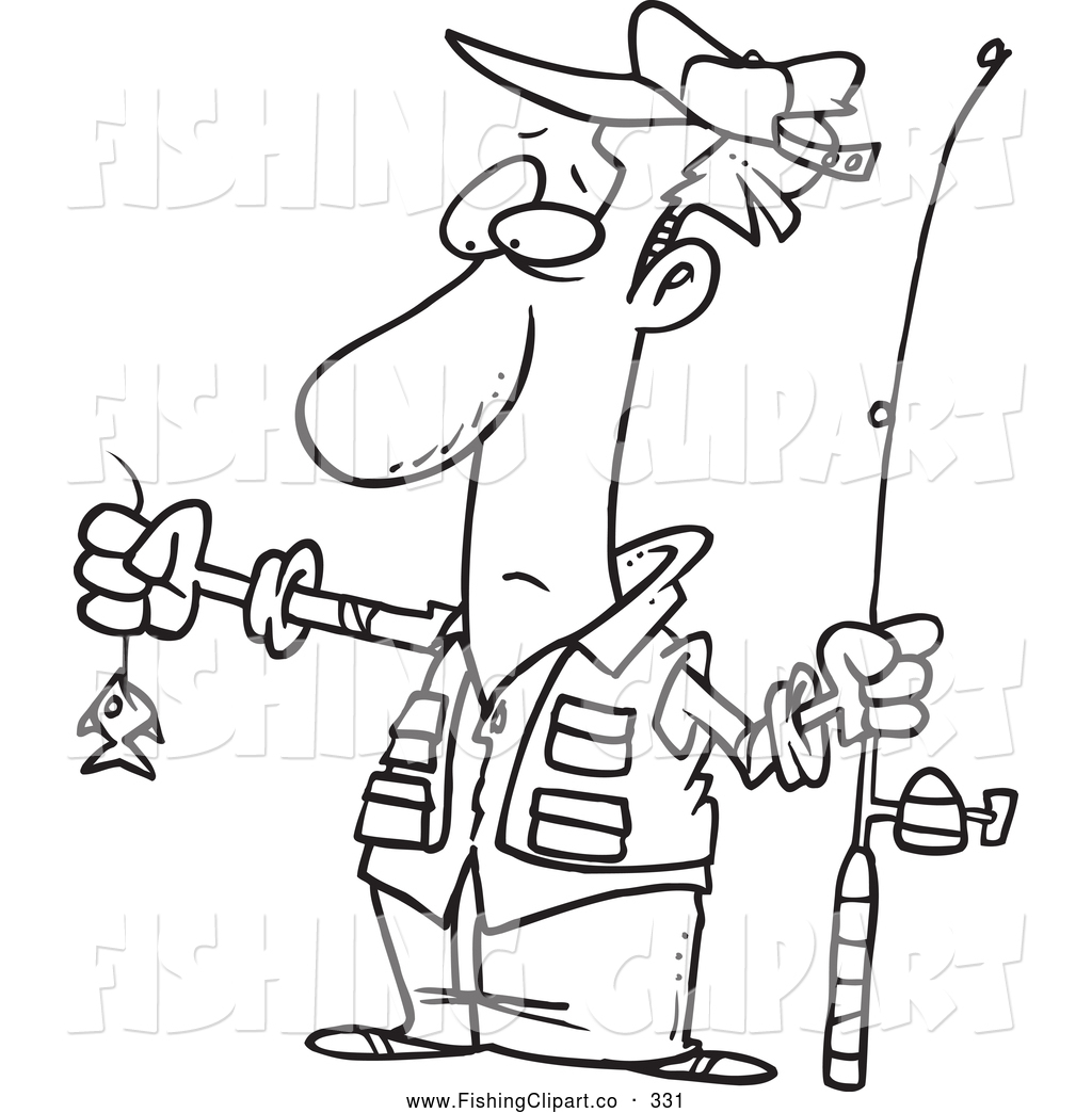 1024x1044 Clip Art Of A Black And White Sketch Of A Disappointed Fisherman