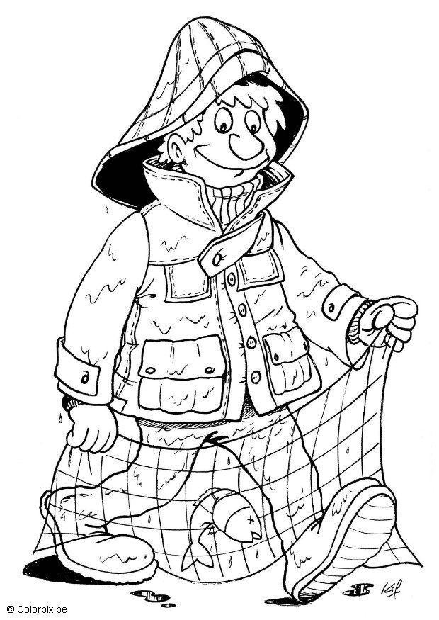 620x875 Coloring Page Fisherman