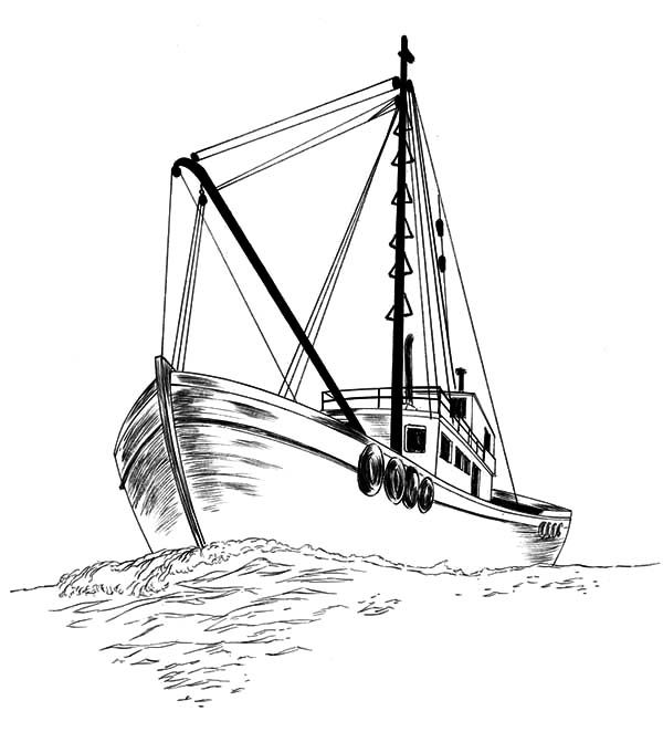 600x662 Fishing Boat, Fishing Boat Sketch Coloring Pages Fishing Boat