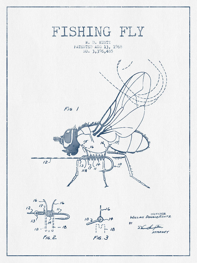 675x900 Fishing Fly Patent Drawing From 1968