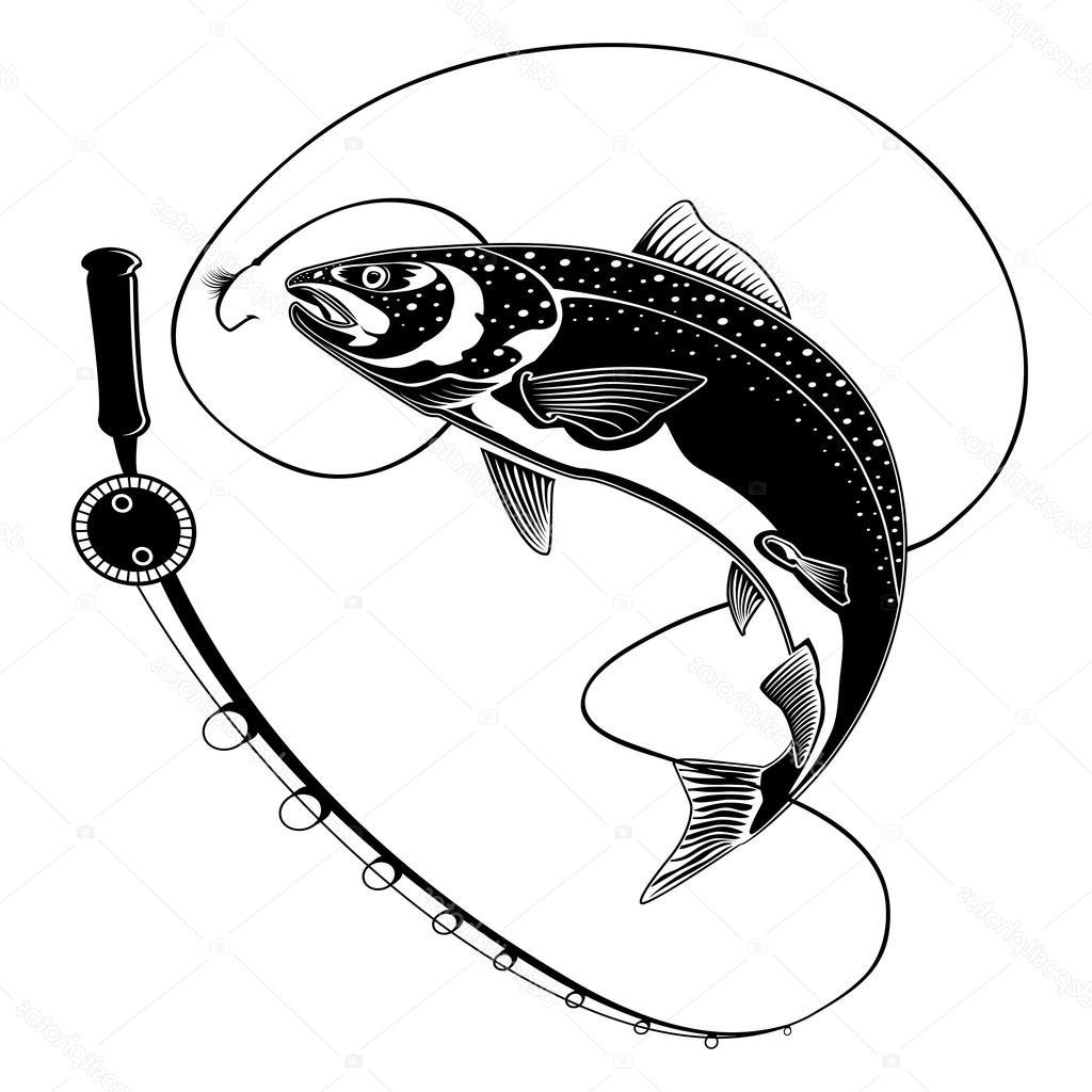 1024x1024 Best Hd Stock Illustration Salmon Fish With Fishing Rod Drawing