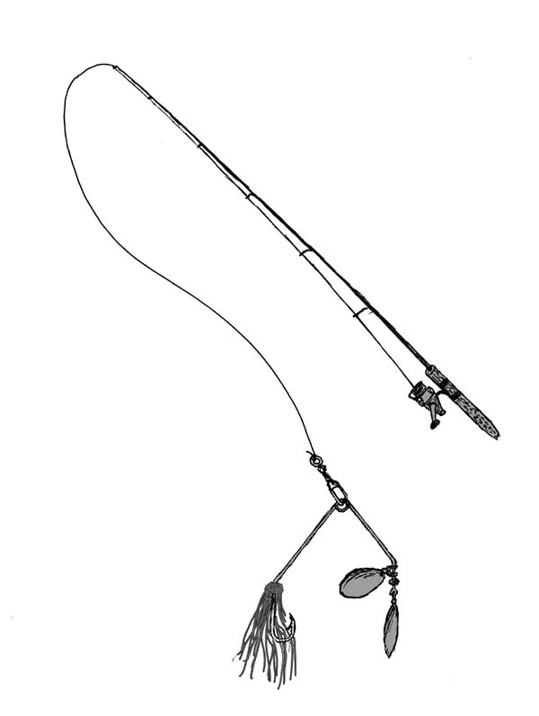 600x797 Fishing Pole With Lure Coloring Pages