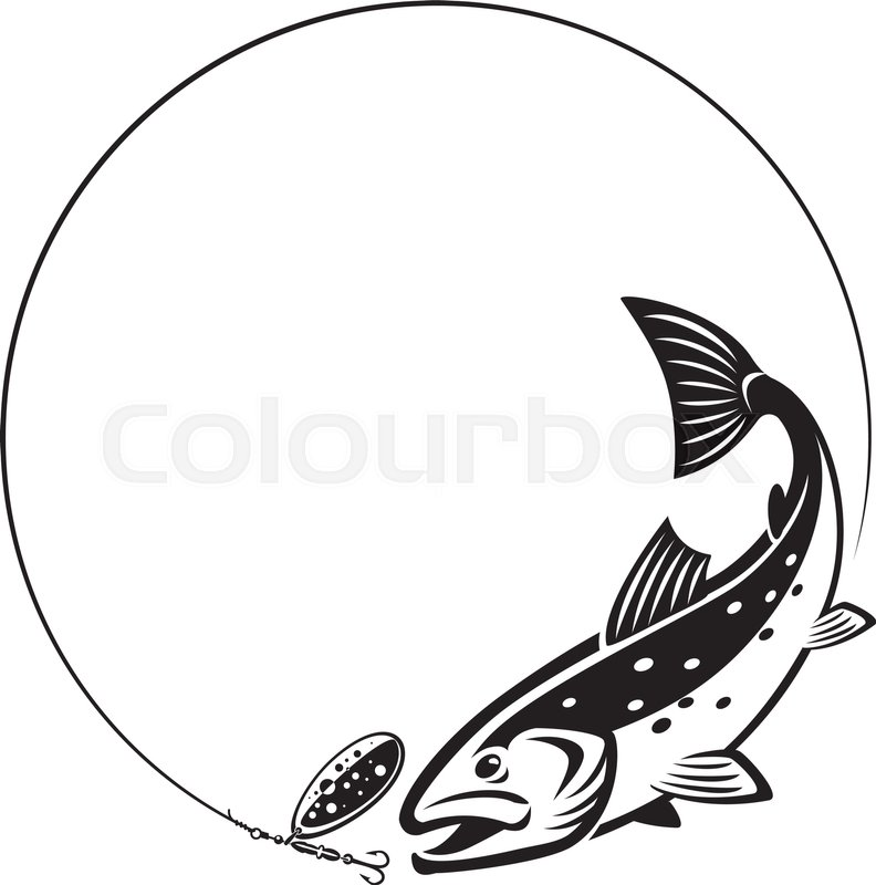 792x800 Trout Chasing Fishing Lure Stock Vector Colourbox