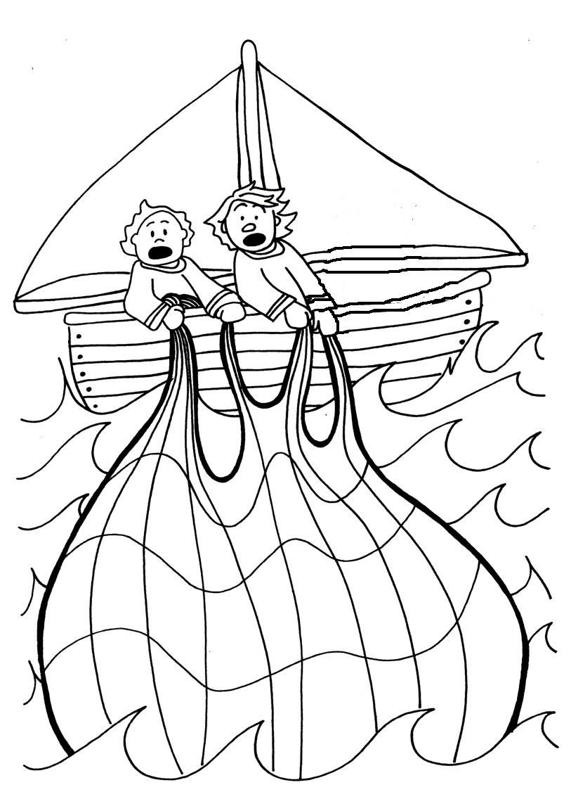813x1126 The Miraculous Catch Of Fish Coloring Pages