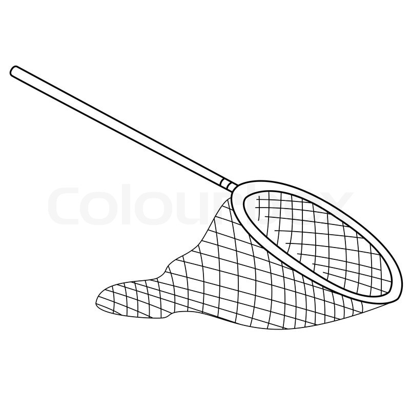 800x800 Black Outline Vector Fishing Net On White Background. Stock