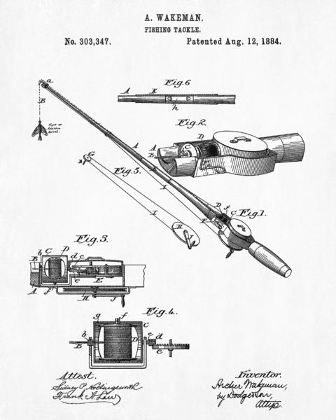 480x600 Fishing Rod Patent Print Angling Poster Sports Blueprint