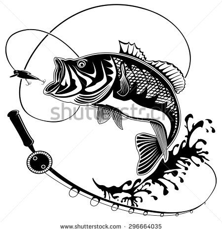 450x470 Isolated Illustration Of Big Peach Fish In Waves With Fishing Rod