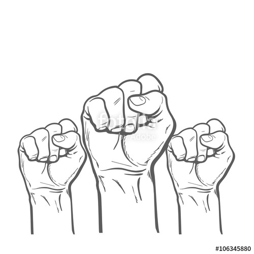 500x500 Raised Fist. Strong Fist On A White Background. Mans Hand. Male