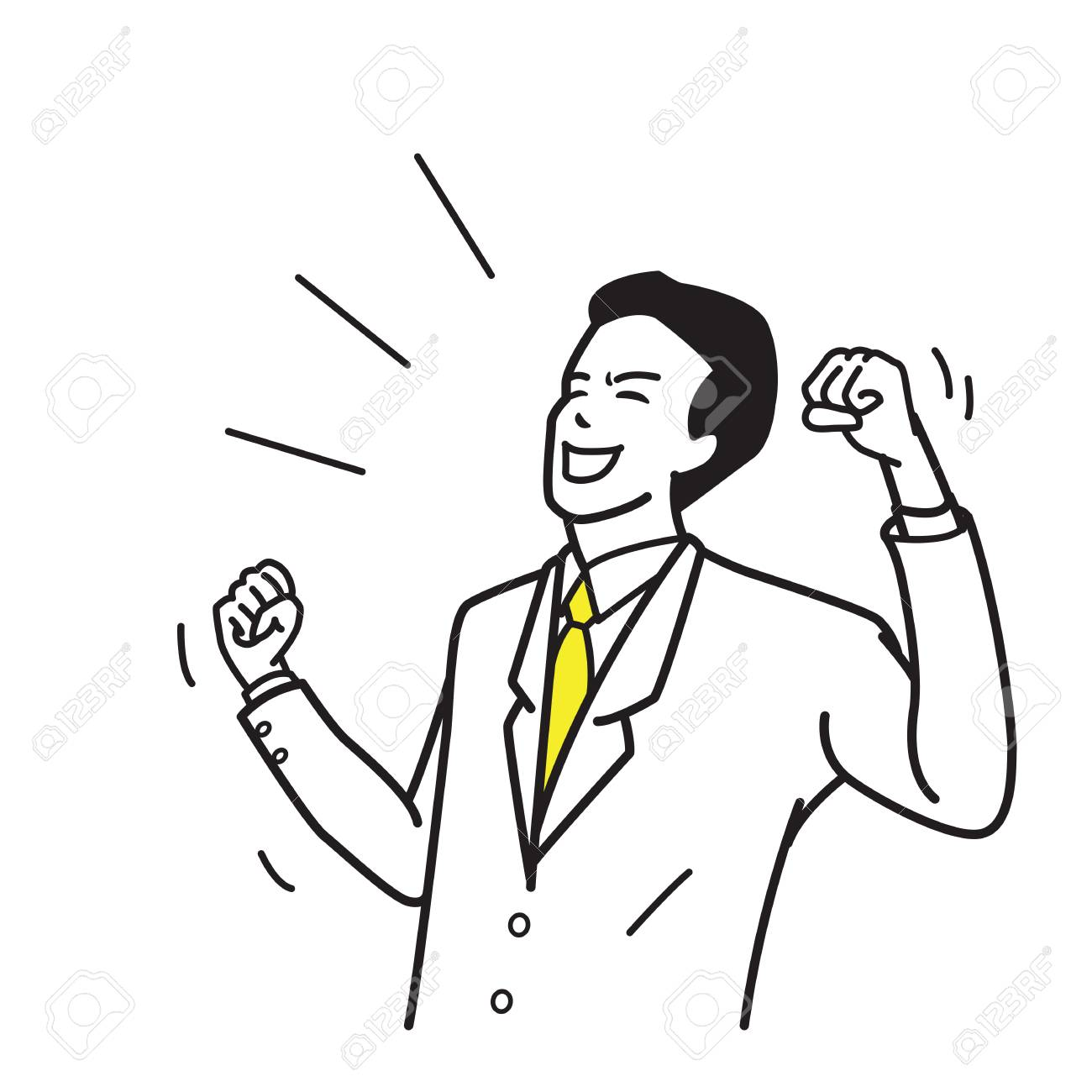 1300x1300 Character Of Office Worker, Businessman, Suite Man, Holding Fists