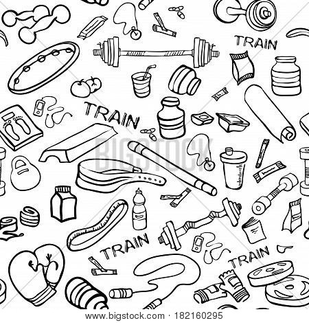 450x470 Fitness Doodle Hand Drawn Pattern Vector Amp Photo Bigstock