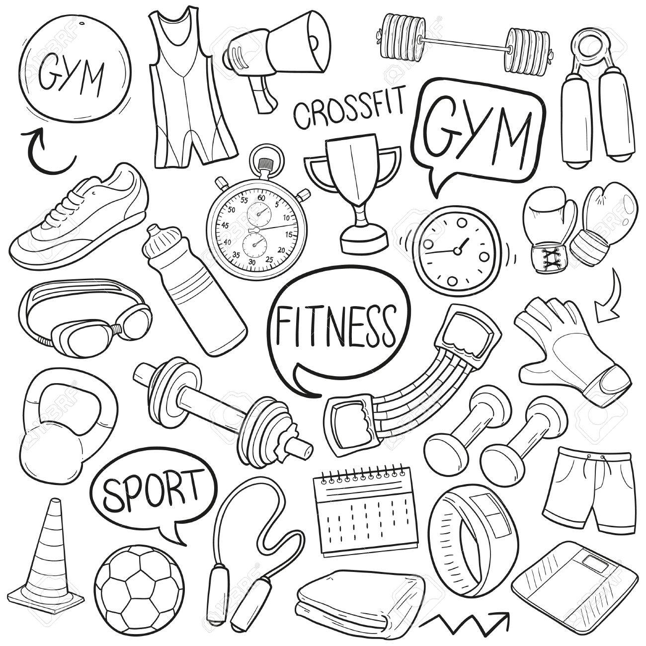 1300x1300 Gym Fitness Sport Doodle Icon Sketch Vector Art Royalty Free