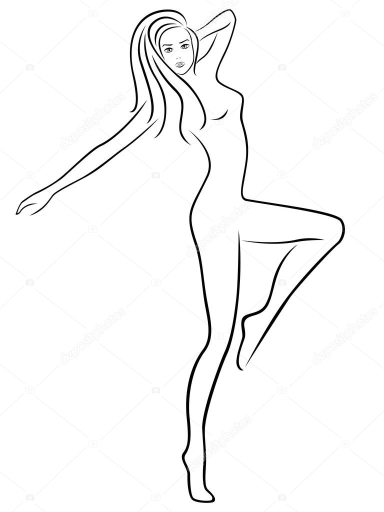 768x1024 Abstract Slender Female During Fitness Stock Vector Natreal