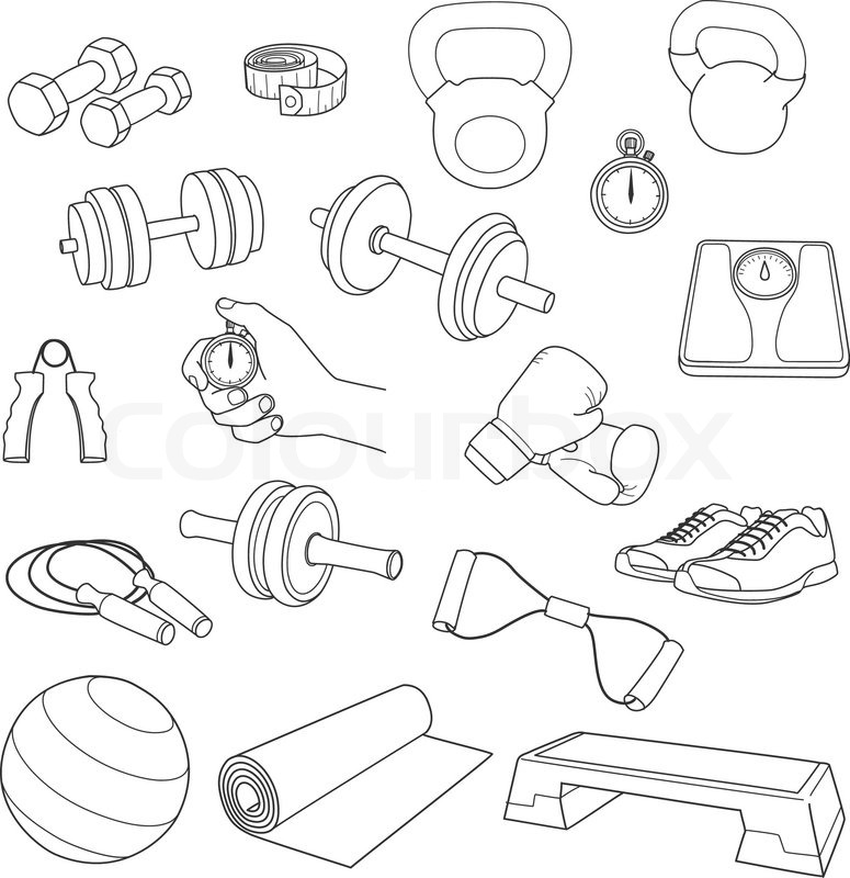 775x800 Hand Drawn Set Of Fitness Accessories. Dumbbells, Exercise Ball