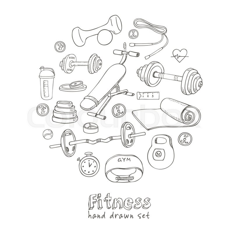 800x800 Set Of Fitness Bodybuilding Diet And Health Care Sketch Icons