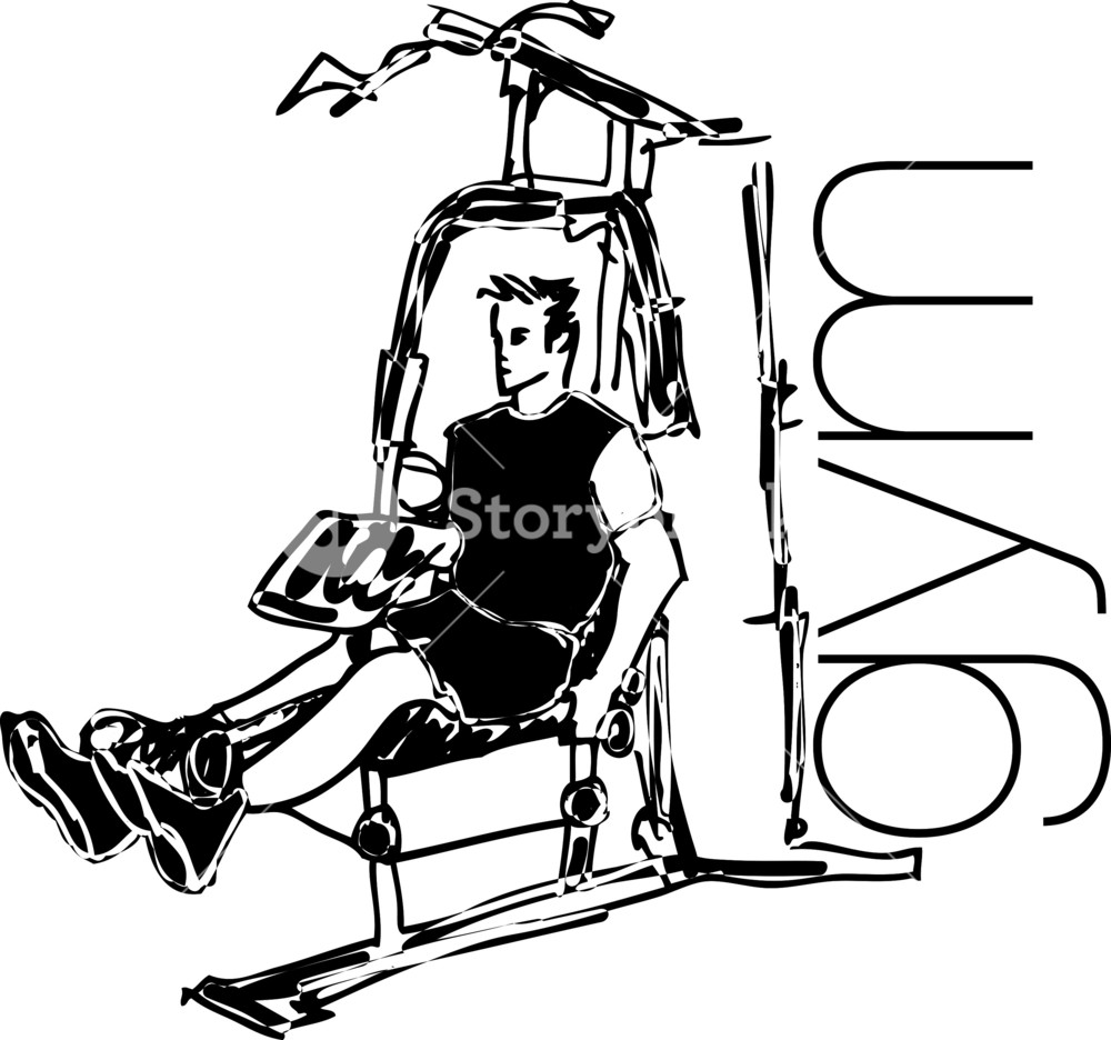 1000x936 Sketch Of Man Using Pulldown Machine In Gym. Vector Illustration